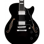 D'Angelico Premier Series SS Semi-Hollowbody Electric Guitar with Center Block and Stopbar Tailpiece Black
